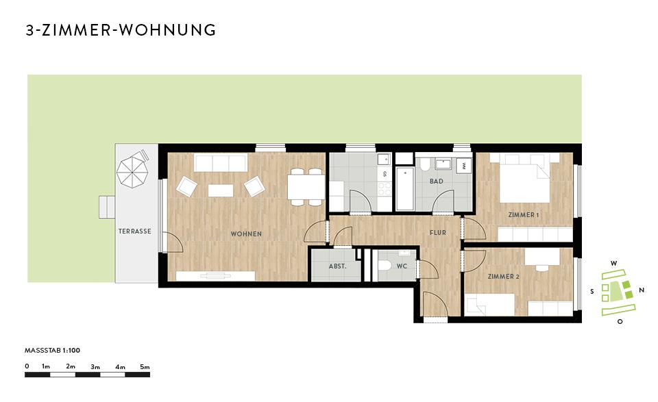 grundriss 3 zimmer die neuesten innenarchitekturideen. Black Bedroom Furniture Sets. Home Design Ideas