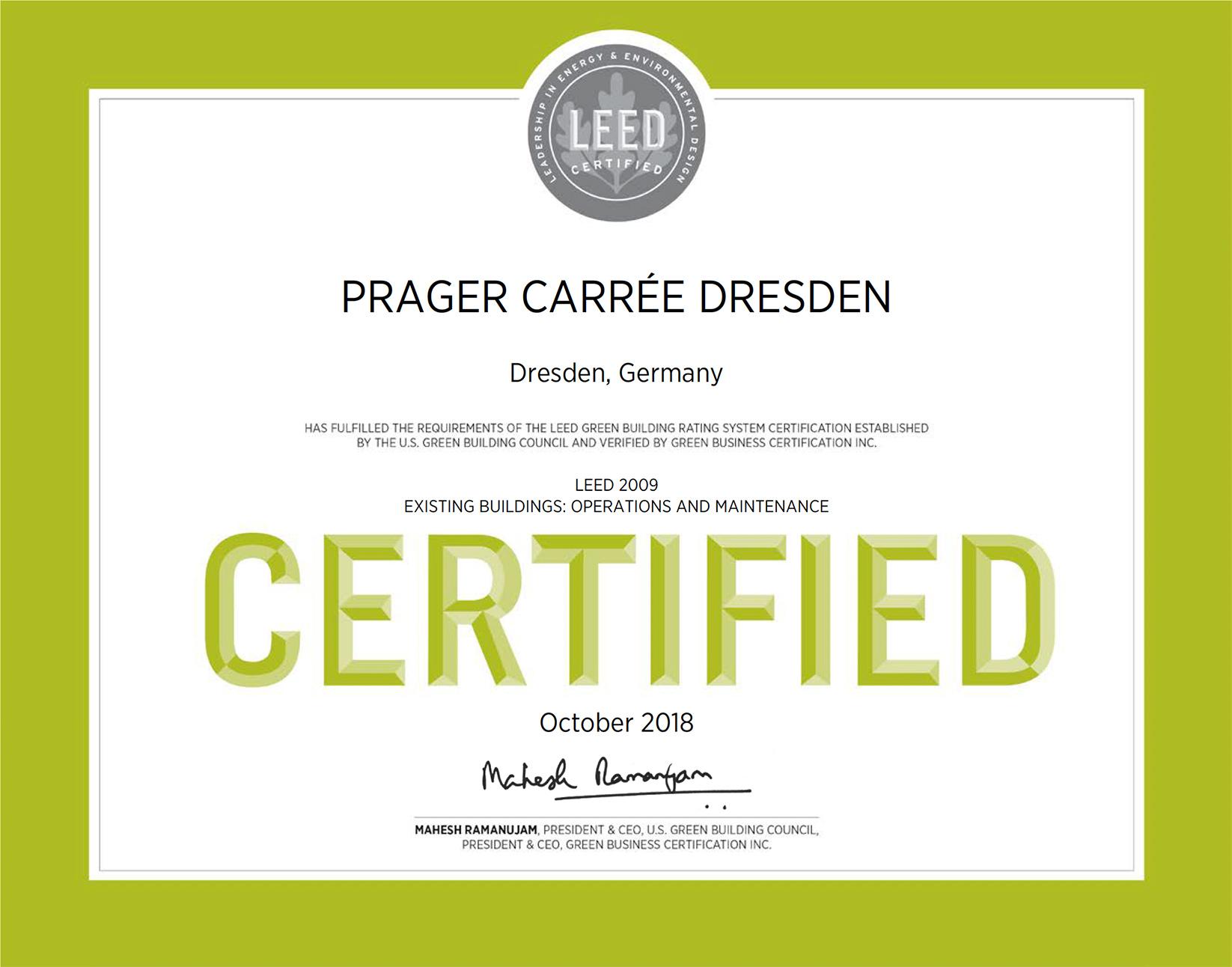 Leed 2009 Zertifikat